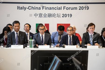 Chinese Minister of Finance Liu Kun, Mayor of Milan Giuseppe Sala, Italian Minister of Economy and Finance Giovanni Tria, CEO Cassa Depositi e Prestiti Fabrizio Palermo