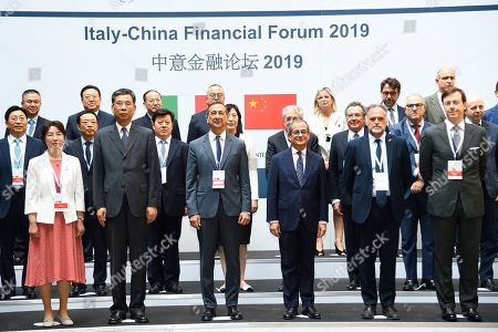 Chinese Minister of Finance Liu Kun, Mayor of Milan Giuseppe Sala, Italian Minister of Economy and Finance Giovanni Tria