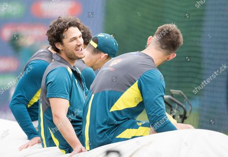 Stock Image of Nathan Coulter-Nile (Australia) and team mates look relaxed at the nets during a Training Session at Edgbaston Stadium on 10th July 2019