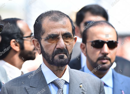 Stock Picture of Sheikh Mohammad Bin Rashid Al Maktoum after watching Communique and Silvestre De Sousa win The Princess of Waless Tattersalls Stakes.