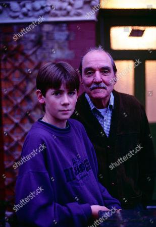 Stock Photo of Andrew Falvey, as Johnny Maxwell, and Arthur Whybrow, as Johnny's Grandad.