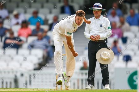 Morne Morkel of Surrey bowling during the Specsavers County Champ Div 1 match between Surrey County Cricket Club and Kent County Cricket Club at the Kia Oval, Kennington