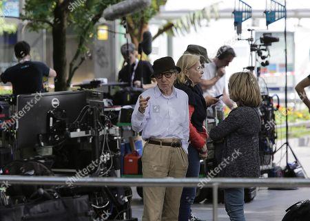 Woody Allen (L) talks to an unidentified woman during the beginning of his latest film's shooting in San Sebastian, Spain, 10 July 2019. Allen will begin sooting his latest work from 10 July until 23 August in San Sebastian.