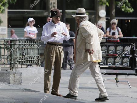 Woody Allen (L) talks to an unidentified man during the beginning of his latest film's shooting in San Sebastian, Spain, 10 July 2019. Allen will begin sooting his latest work from 10 July until 23 August in San Sebastian.