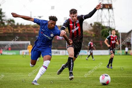 Bohemians vs Chelsea. Chelsea's Dujon Sterling and Ryan Graydon of the Bohemians