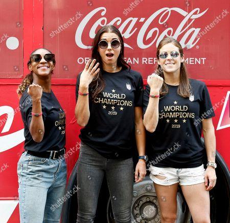 Crystal Dunn, Alex Morgan, Kelley O'Hara. Coca-Cola celebrates World Champion USWNT at the Parade of Champions in New York City on with Coca-Cola ambassadors Crystal Dunn, Alex Morgan, and Kelley O'Hara