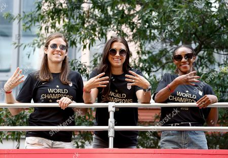 Kelley O'Hara, Alex Morgan, Crystal Dunn. Coca-Cola celebrates World Champion USWNT at the Parade of Champions in New York City on with Coca-Cola ambassadors Kelley O'Hara, Alex Morgan, and Crystal Dunn