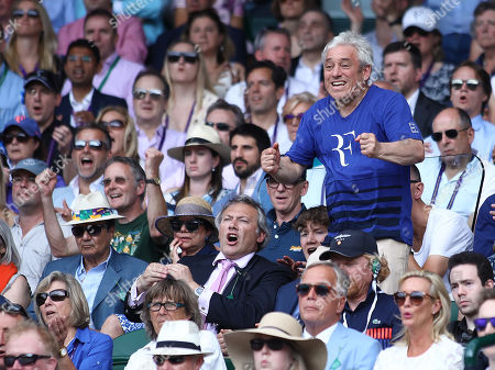 Speaker of the House of Commons, Mr john Bercow celebrates as he watches Roger Federer (SUI) on Centre Court on day 9 of the championships