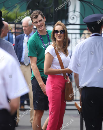 Jammie Murray and his wife Alejandra Gutierrez arrive at Wimbledon on Day 9 of the Championships