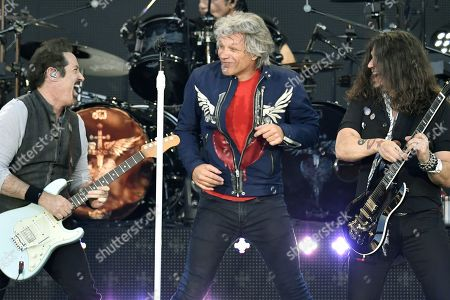 John Shanks, Jon Bon Jovi and Phil X of US rock band Bon Jovi perform on stage during 'This house is not for sale' tour concert at the Letzigrund stadium in Zurich, Switzerland, 10 July 2019.