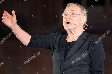 Klaus Maria Brandauer as Hagen performs on stage during a photo rehearsal of 'Ueberwaeltigung' (lit. overpowering) for the Nibelungen Festival Worms, in Worms, Germany, 10 July 2019. The festival features the old Norse and Germanic mythology saga of the Nibelungen about the life and love, treason and tragedy of the Burgundians royal family and their legendary treasure in Worms in the fifth century. This year's festival is titled 'Ueberwaeltigung' and will be held on an openair stage in front of the Worms Cathedral from 12 to 28 July 2019.