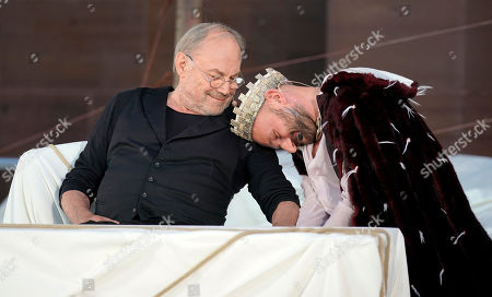 Klaus Maria Brandauer (L) as Hagen and German actor Moritz Grove as Gunther (R) perform on stage during a photo rehearsal of 'Ueberwaeltigung' (lit. overpowering) for the Nibelungen Festival Worms, in Worms, Germany, 10 July 2019. The festival features the old Norse and Germanic mythology saga of the Nibelungen about the life and love, treason and tragedy of the Burgundians royal family and their legendary treasure in Worms in the fifth century. This year's festival is titled 'Ueberwaeltigung' and will be held on an openair stage in front of the Worms Cathedral from 12 to 28 July 2019.