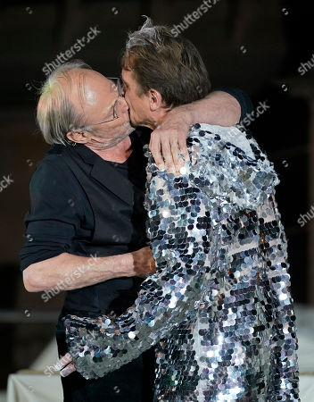 Klaus Maria Brandauer (L) as Hagen and Alexander Simon (R) as Siegfried perform on stage during a photo rehearsal of 'Ueberwaeltigung' (lit. overpowering) for the Nibelungen Festival Worms, in Worms, Germany, 10 July 2019. The festival features the old Norse and Germanic mythology saga of the 'Nibelungen' about the life and love, treason and tragedy of the Burgundians royal family and their legendary treasure in Worms in the fifth century. This year's the festival is titled 'Ueberwaeltigung' (lit. overpowering) and will be held on an open-air stage in front of Worms Cathedral from 12 to 28 July 2019.