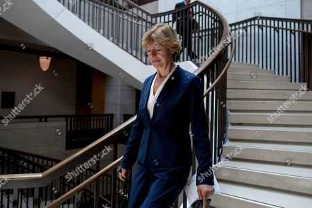 Sen. Tammy Baldwin, D-Wis., arrives for a closed door meeting for Senators on election security on Capitol Hill in Washington