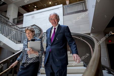 Jeanne Shaheen, Ed Markey. Sen. Jeanne Shaheen, D-N.H., left, and Sen. Ed Markey, D-Mass., arrive for a closed door meeting for Senators on election security on Capitol Hill in Washington