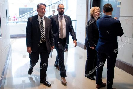 Gary Peters, Debbie Stabenow. Sen. Gary Peters., D-Mich., left, and Sen. Debbie Stabenow, D-Mich., second from right, arrive for a closed door meeting for Senators on election security on Capitol Hill in Washington