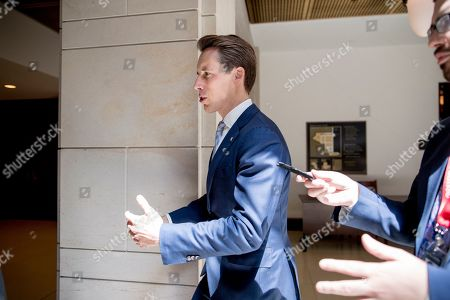 Sen. Josh Hawley, R-Mo., arrives for a closed door meeting for Senators on election security on Capitol Hill in Washington