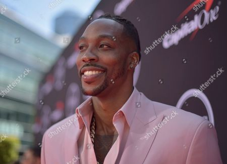 NBA player, Dwight Howard, of the Memphis Grizzlies arrives at the ESPY Awards, at the Microsoft Theater in Los Angeles