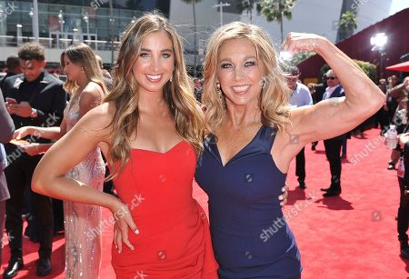 Katie Austin, Denise Austin. Katie Austin, left, and Denise Austin arrive at the ESPY Awards, at the Microsoft Theater in Los Angeles
