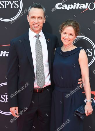 James Pitaro, Jean Louisa Kelly. President of ESPN inc. James Pitaro, left, and Jean Louisa Kelly arrive at the ESPY Awards, at the Microsoft Theater in Los Angeles