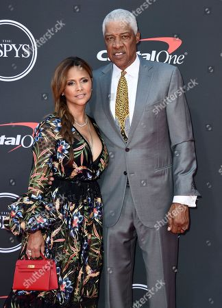 Stock Image of Julius Erving, Dorys Madden. Julius Erving, right, and Dorys Madden arrive at the ESPY Awards, at the Microsoft Theater in Los Angeles