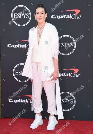 WNBA player Breanna Stewart, of the Seattle Storm, arrives at the ESPY Awards, at the Microsoft Theater in Los Angeles