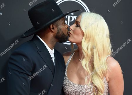 PK Subban, Lindsey Vonn. NHL player PK Subban of the New Jersey Devils, left, and Lindsey Vonn kiss as they arrive at the ESPY Awards, at the Microsoft Theater