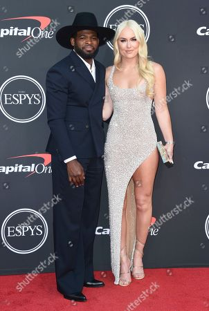 PK Subban, Lindsey Vonn. NHL player PK Subban of the New Jersey Devils, left, and Lindsey Vonn arrive at the ESPY Awards, at the Microsoft Theater