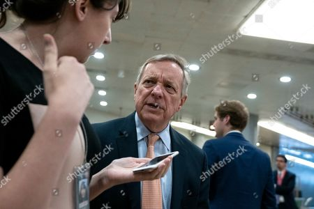 United States Senator Dick Durbin (Republican of Illinois) arrives to a closed door briefing on American election security