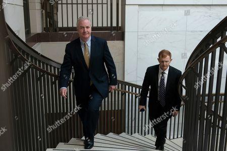 United States Senator Chris Van Hollen (Democrat of Maryland) departs a closed door briefing on American election security