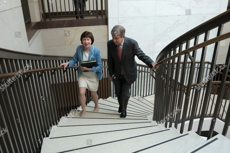 United States Senator Susan Collins (Republican of Maine) and United States Senator Roy Blunt (Republican of Missouri) depart a closed door briefing on American election security