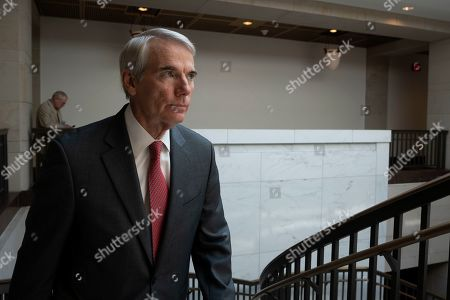 United States Senator Robert Portman (Republican of Ohio) departs a closed door briefing on American election security