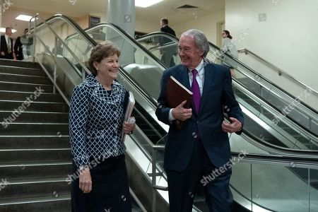 United States Senator Jeanne Shaheen (Democrat of New Hampshire) and United States Senator Ed Markey (Democrat of Massachusetts) arrive to a closed door briefing on American election security