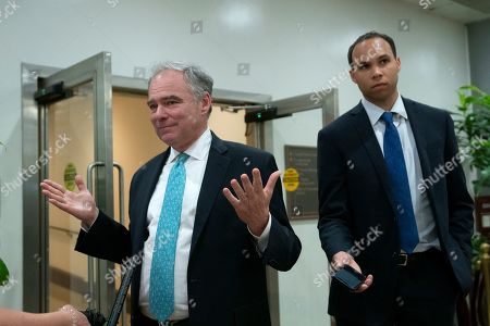 Stock Image of United States Senator Tim Kaine (Democrat of Virginia) arrives to a closed door briefing on American election security