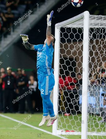 Portland Timbers goalkeeper Steve Clark (12) in actions during a U.S. Open Cup quarterfinals soccer match between Los Angeles FC and Portland Timbers in Los Angeles, . The Timbers won 1-0