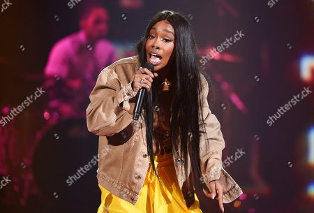 Stock Picture of SZA performs at Amazon Music's Prime Day concert at the Hammerstein Ballroom, in New York