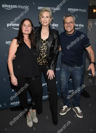 Maura Tierney, Jane Lynch, Neil Lindsay. Actors Maura Tierney, left, and Jane Lynch pose with Prime vice president Neil Lindsay attend Amazon Music's Prime Day concert at the Hammerstein Ballroom, in New York