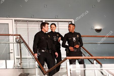 Nathan Fillion as John Nolan, Melissa O'Neil as Lucy Chen and Titus Makin as Jackson West