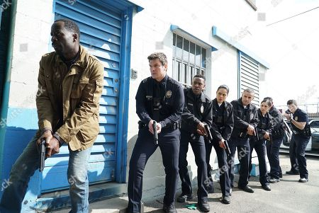 Demetrius Grosse as Detective Kevin Wolfe, Nathan Fillion as John Nolan, Titus Makin as Jackson West and Alyssa Diaz as Angela Lopez