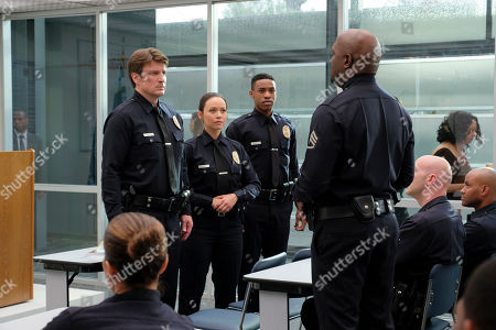 Nathan Fillion as John Nolan, Melissa O'Neil as Lucy Chen and Titus Makin Jr as Jackson West and Richard T. Jones as Sergeant Wade Grey