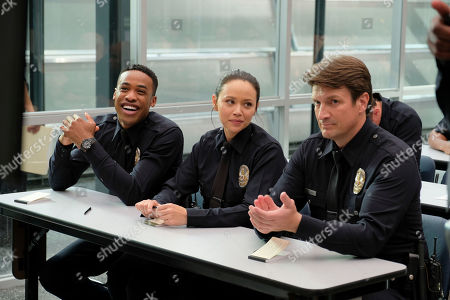 Stock Picture of Titus Makin Jr as Jackson West, Melissa O'Neil as Lucy Chen and Nathan Fillion as John Nolan
