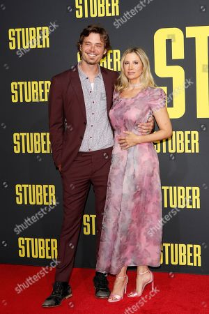 Stock Image of Christopher Backus (L) and his wife, US actress/cast member Mira Sorvino (R) arrive for the premiere of 'Stuber' at the Regal Cinemas L.A. Live in Los Angeles, California, USA, 10 July 2019. The movie opens in the US on 12 July 2019.