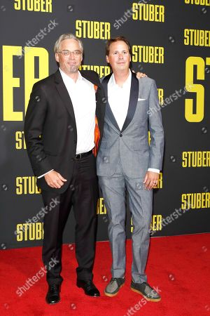 Michael Dowse (L) and US writer Tripper Clancy arrive for the premiere of 'Stuber' at the Regal Cinemas L.A. Live in Los Angeles, California, USA, 10 July 2019. The movie opens in the US on 12 July 2019.