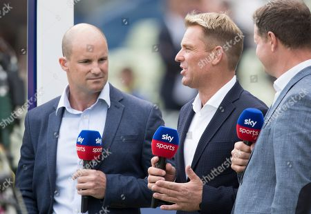 Shane Warne expressing a view for Sky Sports during Australia vs England, ICC World Cup Semi-Final Cricket at Edgbaston Stadium on 11th July 2019