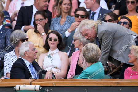 Sir John Major, Norma Major and Sir Richard Branson in the Royal Box on Centre Court