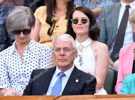 Sir John Major and Claire Foy in the Royal Box on Centre Court