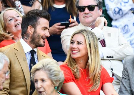 David Beckham with Sir Richard Branson and Holly Branson in the Royal Box on Centre Court
