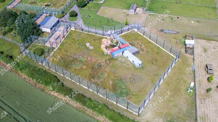 Aerial view of the tiger inclosure at  Hamerton Zoo in Cambridgeshire