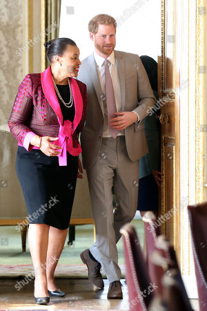 Prince Harry in his role as Commonwealth Youth Ambassador with Baroness Patricia Scotland, Commonwealth Secretary-General during a Commonwealth Youth roundtable at Marlborough House