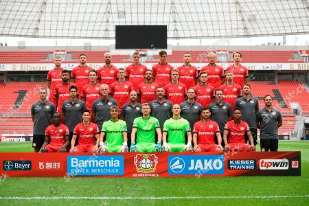 The team of Bundesliga club and Champions League participant Bayer Leverkusen is presented in Leverkusen, Germany, . Down from left: Moussa Diaby, Paulhino, goalkeeper Ramazan Oezcan, goalkeeper Lukas Hradecky, goalkeeper Niklas Lomb, Kevin Volland, Wendell. Second row from left: David Thiel, Schahariar Bigdeli, Xaver Zembrod, head coach Peter Bosz, Hendrie Kruezen, Terry Peters, Marcel Daum, Simon Lackmann, Daniel Jouvin. Third row from left: Kerim Demirbay, Julian Baumgartlinger, Lars Bender, Karim Bellarabi, Jan Boller, Adrian Stanilewicz, Mitchell Weiser. Up from left: Daley Sinkgraven, Lucas Alario, Aleksandar Dragovic, Sven Bender, Kai Havertz, Panagiotis Retsos, Joel Pohjanpalo and Tin Jedvaj